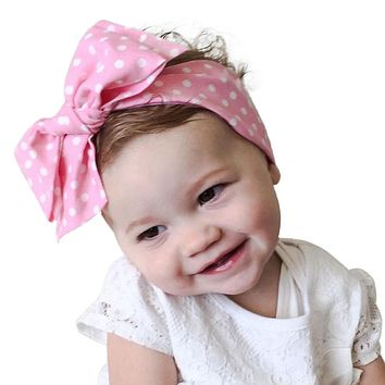 Child Baby Bow Knot Dot Headband Girls Turban Knot Head Wrap Kids Floral Hairband Hair Band Accessories Headwear Boutique Jan10