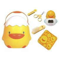 Perfect 6pc Baby Bathing Gift Set in Big Yellow Duckling Storage Case