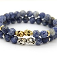 Psychic Bracelet Double Ghost 8 mm Blue Dot Stone Beads With Exquisite Gold and Silver Optional Jewelry for Men