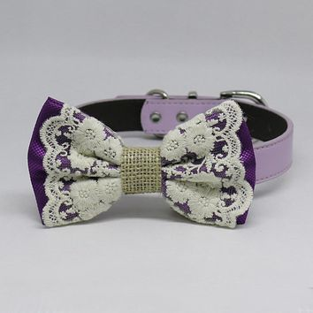 Copy of Pink Dog Bow Tie collar, Lace and Burlap, Handmade dog collar, Pink Lace bow tie