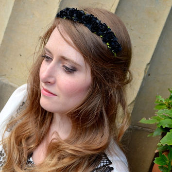 Black Floral crown flower crown rose crown headband wreath with roses festival