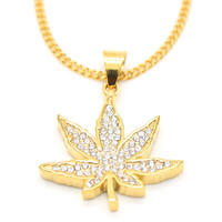 Gold Plated CZ Bling Weed Leaf Charm Pendant Necklace