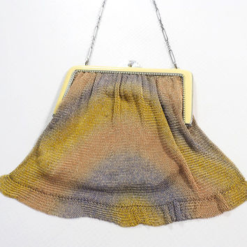 Flapper Mesh Purse with Enameled Art Deco Frame / Yellow, Purple and Pink Chevron / Gold Lining / Silver Rectangular Chain Strap