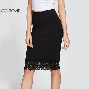 COLROVE Black Elegant Lace Pencil Skirt Elastic High Waist