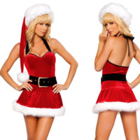 Women Fashion Halter Sleeveless Backless Mini Dress Christmas Clothes Temptation Uniform Sleepwear Set