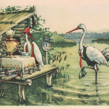 """Postcard Illustration by V. Kuzmin for Russian Folk Tale """"The Crane and The Heron"""" -- 1956"""