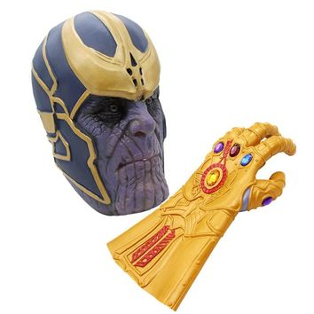 2018 Movie Avengers 3 Infinity War Thanos Cosplay Masks Glove Latex Halloween Helmet Xmas Party Costumes Props Gift