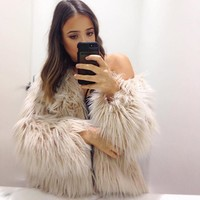 Long Sleeve Parka Hair Fur Fox Jacket