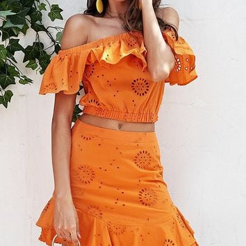 On Blast Orange Short Sleeve Off The Shoulder Ruffle Crop Top Mini Skirt Casual Two Piece Dress