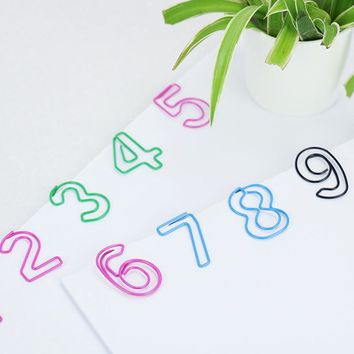 TUTU 10PCS/LOT Metal number Shape Paper Clips candy Color Funny Kawaii Bookmark Office School Stationery Marking Clips H0042