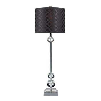 D2161 Chamberlain Table Lamp In Chrome And Clear Crystal With Laser Cut Shade - Free Shipping!