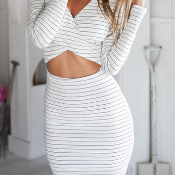 White Stripe V Neck Midriff-Baring Dress