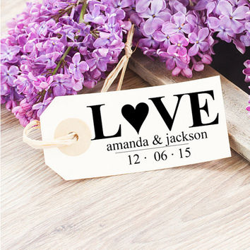 Custom Wedding Stamp - Personalized LOVE Stamp for Wedding Favors, Gifts - Self Inking Stamp for Favors, Gift Tags - Thank You Wedding Stamp