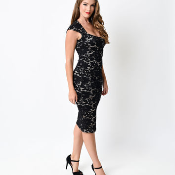 Retro Style Black Crochet Floral Fitted Wiggle Dress