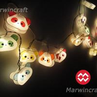 20 Cute Panda Teddy Bear Mixed Color Paper Lantern Fairy String Lights Patio Party Wedding Gift Home Decoration Garland girl room kid