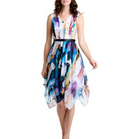 Some of you have to get in on this: Kay Unger Blue Multicolor Chiffon Dress