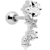 """16 Gauge 1/4"""" Stainless Steel Clear CZ Stars Left Cartilage Earring"""