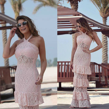 Beautiful Bodycon Pink Hollow Out Flower Halter Dress