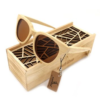BOBOBIRD New Men's Bamboo Polarized Sun Glasses Retro Men And Women Handmade Sunglasses For Friend As Gifts With Wooden Box 2017