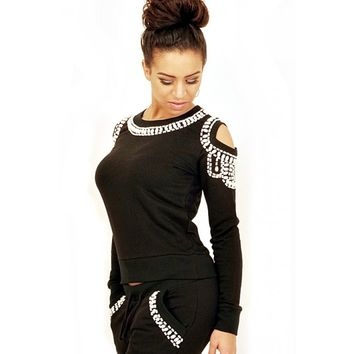 Black Beaded Tracksuit | Off shoulder | Cutout