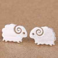 925 Sterling Silver Earrings Cute Small Brushed Delicate Sheep Stud Earrings for  Wedding Gift