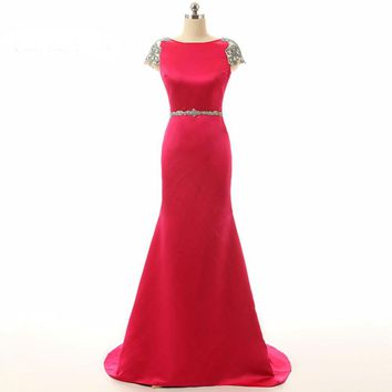 Charming Pink Mermaid Long Cap Sleeve Formal Evening Dresses Satin Beaded Backless Court Train