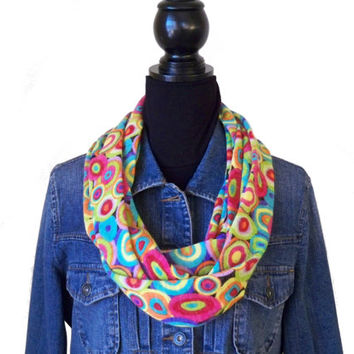Brightly Colored Infinity Scarf, Circles Infinity Scarf, Geometric Scarf, Fashion Knit Scarf
