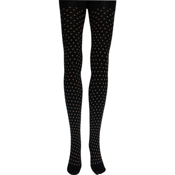 Little Tan Polka Dot Tights in Black