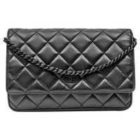 CHANEL 'Wallet on Chain' All Black Bag in Black Quilted Smooth Leather