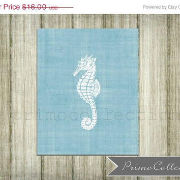 Nursery Wall Art Print / 8x10 inch / beach theme / wall art / blue / boy's bedroom decor / seahorse / baby room / ocean / nautical / sea
