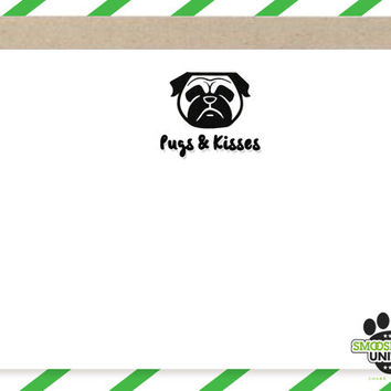 Pugs and Kisses dog stamp - pug rubber stamp or self inking, perfect for scrapbooking, greetings cards DIY crafts - pug lover gift idea!