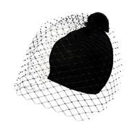 Black Beanie with Mesh Overlay