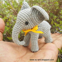 Baby Elephant Miniatures Grey Art doll Crocheted by suami on Etsy