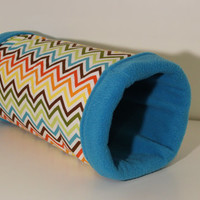 Guinea Pig Cozy Tunnel, Reinforced Ferret Tube, Chevron Hedgehog Accessories with Turquoise Fleece Interior