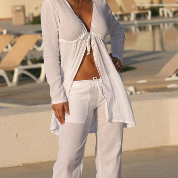 Drawstring Gauze Pants Cover-Ups