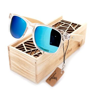 BOBO BIRD Coated Sunglasses for Men and Women Polarized Bamboo Holder Sun Glasses With Wood Gifts Box Cool Beach Oculos 2017