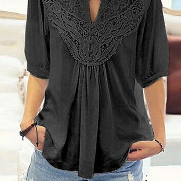 Black Patchwork Lace Pleated V-neck Elbow Sleeve Casual T-Shirt