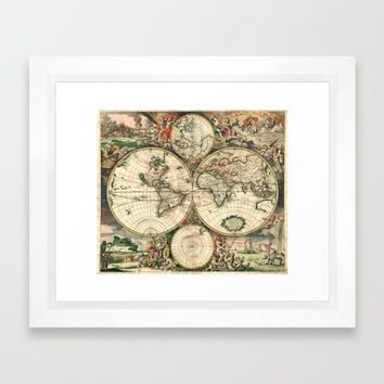 Old map of world hemispheres (enhanced) Framed Art Print by Bruce Stanfield