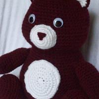 Crochet Bear, Bear Stuffed Animal in Maroon and White, Crochet Animal, Aggie Bear, Teddy Bear Plush, Bear Plush, Texas A&M, Graduation Gift