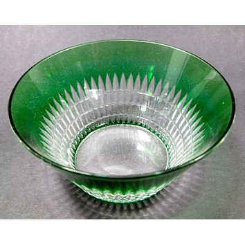 Green cased glass cut to clear finger bowl Dorflinger ?