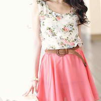 Pink and White Floral Print Elastic Waist Dress