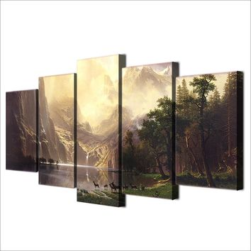 5 Pieces Panels Canvas Wall Art Picture Mountain Lake Landscape