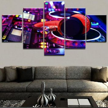 Modern Painting Wall Art Pictures 5 Pieces Canvas Printed Colorful Headphones Poster Music Painting Home Decorative Framework