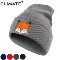 CLIMATE Women Girls Winter Warm Beanie Hat Cap New Cute Fox Lovely Skulls Knitted Hat For Adult Teenagers Boy Girls Women