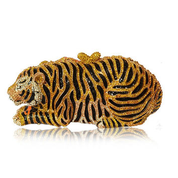 Milanblocks Tiger Clutch Purse Bling Rhinestone Clutch Evening Bag