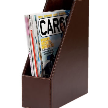 Office Reception Hall Waiting Room Decorative Econo-Line Dark Brown Leather Magazine Rack