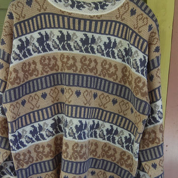 Vintage 80s Long Baggy Oversize Nordic Pattern Tribal Sweater Size L