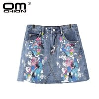 OMCHION Fashion Women Splash-Ink Multicolour Jeans Skirt 2017 New Summer Mini Skirt Brand Style Casual Denim Skirts SK001