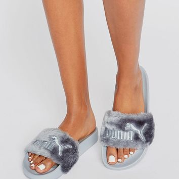 Puma X Rihanna Fenty Leadcat Fluffy Sliders In Grey