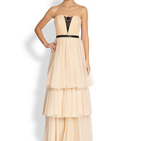 Lace-Inset Strapless Tulle Gown
